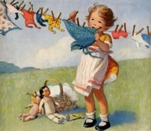 girl at clothes line