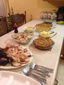 Some of the Thanksgiving dinner.  The rest continued around on the other side of the counter.  Whew!  We were full!