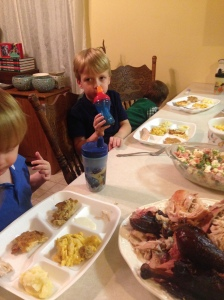 "Here's some Thanksgiving kids.  Coincidentally, they do not like turkey.  However, are stuffing their little faces with the ""chicken"" we had."