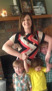 The best picture of me & the grandboys.  Mr. Sweetie Pants kept trying to run off, thus, the death grip I have on him.
