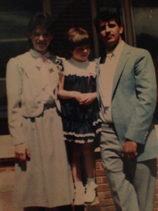 Easter circa 1985.  My brother in his Rico Suave phase.  My cousin in her cuteness phase.  Me in my homegirl big bow stage, wearing my Mamaw's dress.  Sadly, not true.
