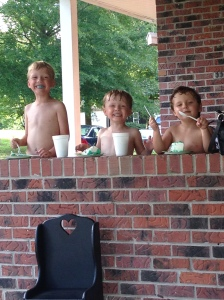 Sweet boys- they didn't care it was hot.