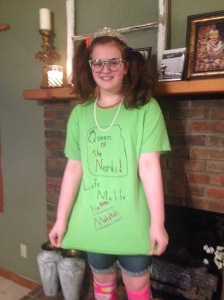 "I love this girl dressed up for Halloween as ""Queen of the Nerds."""