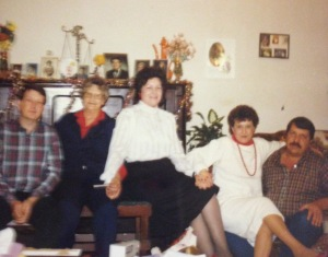 Mama's baby brother, Mamaw, Mama, Mama's older sister, Mama's middle brother at Christmas circa 1984
