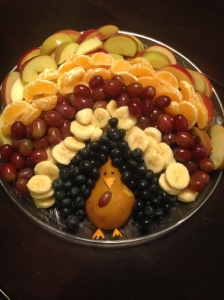 Fruit turkey made by my oldest daughter.