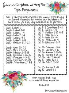 June Scripture Writing Plan English